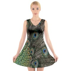 Close Up Of Peacock Feathers V Neck Sleeveless Skater Dress