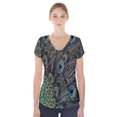 Close Up Of Peacock Feathers Short Sleeve Front Detail Top