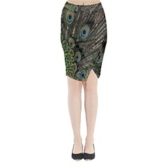 Close Up Of Peacock Feathers Midi Wrap Pencil Skirt