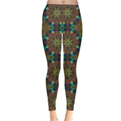 Seamless Abstract Peacock Feathers Abstract Pattern Leggings