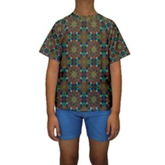 Seamless Abstract Peacock Feathers Abstract Pattern Kids  Short Sleeve Swimwear