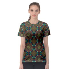 Seamless Abstract Peacock Feathers Abstract Pattern Women s Sport Mesh Tee