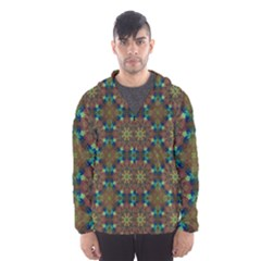 Seamless Abstract Peacock Feathers Abstract Pattern Hooded Wind Breaker (men)