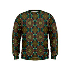 Seamless Abstract Peacock Feathers Abstract Pattern Kids  Sweatshirt