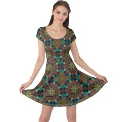 Seamless Abstract Peacock Feathers Abstract Pattern Cap Sleeve Dresses