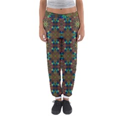Seamless Abstract Peacock Feathers Abstract Pattern Women s Jogger Sweatpants