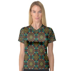 Seamless Abstract Peacock Feathers Abstract Pattern Women s V Neck Sport Mesh Tee
