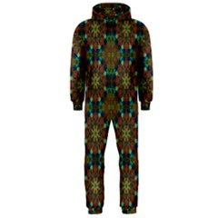 Seamless Abstract Peacock Feathers Abstract Pattern Hooded Jumpsuit (men)