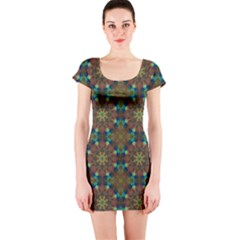 Seamless Abstract Peacock Feathers Abstract Pattern Short Sleeve Bodycon Dress
