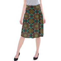 Seamless Abstract Peacock Feathers Abstract Pattern Midi Beach Skirt