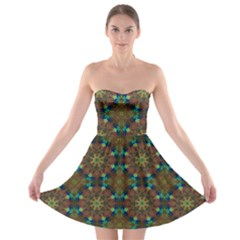 Seamless Abstract Peacock Feathers Abstract Pattern Strapless Bra Top Dress