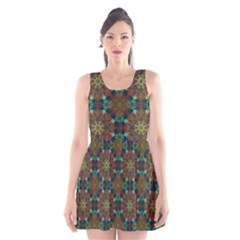 Seamless Abstract Peacock Feathers Abstract Pattern Scoop Neck Skater Dress