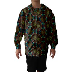 Seamless Abstract Peacock Feathers Abstract Pattern Hooded Wind Breaker (kids)