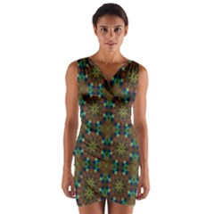 Seamless Abstract Peacock Feathers Abstract Pattern Wrap Front Bodycon Dress