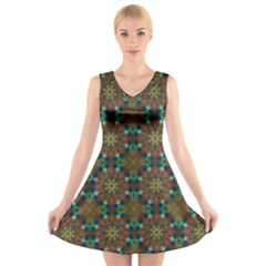 Seamless Abstract Peacock Feathers Abstract Pattern V Neck Sleeveless Skater Dress