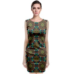 Seamless Abstract Peacock Feathers Abstract Pattern Classic Sleeveless Midi Dress