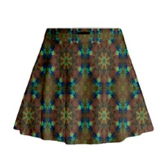 Seamless Abstract Peacock Feathers Abstract Pattern Mini Flare Skirt