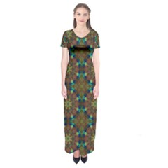 Seamless Abstract Peacock Feathers Abstract Pattern Short Sleeve Maxi Dress