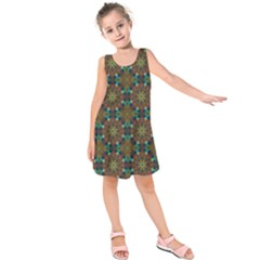 Seamless Abstract Peacock Feathers Abstract Pattern Kids  Sleeveless Dress