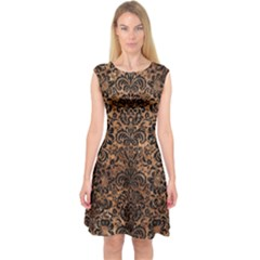 Damask2 Black Marble & Brown Stone (r) Capsleeve Midi Dress