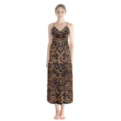 Damask2 Black Marble & Brown Stone Button Up Chiffon Maxi Dress