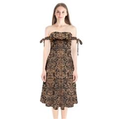 Damask2 Black Marble & Brown Stone Shoulder Tie Bardot Midi Dress