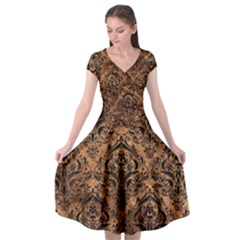 Damask1 Black Marble & Brown Stone (r) Cap Sleeve Wrap Front Dress