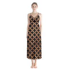Circles3 Black Marble & Brown Stone Button Up Chiffon Maxi Dress