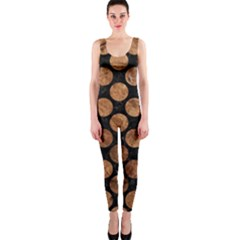 Circles2 Black Marble & Brown Stone Onepiece Catsuit