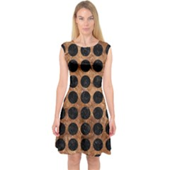 Circles1 Black Marble & Brown Stone (r) Capsleeve Midi Dress