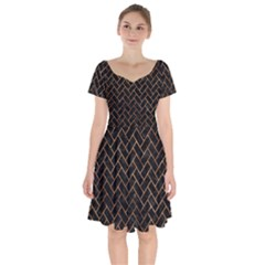Brick2 Black Marble & Brown Stone Short Sleeve Bardot Dress