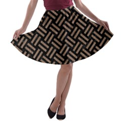 Woven2 Black Marble & Brown Colored Pencil A Line Skater Skirt