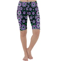 Fantasy Flower Forest  In Peacock Jungle Wood Cropped Leggings