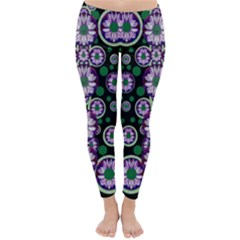 Fantasy Flower Forest  In Peacock Jungle Wood Classic Winter Leggings