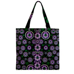 Fantasy Flower Forest  In Peacock Jungle Wood Zipper Grocery Tote Bag