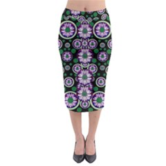 Fantasy Flower Forest  In Peacock Jungle Wood Midi Pencil Skirt