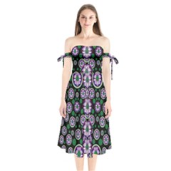 Fantasy Flower Forest  In Peacock Jungle Wood Shoulder Tie Bardot Midi Dress