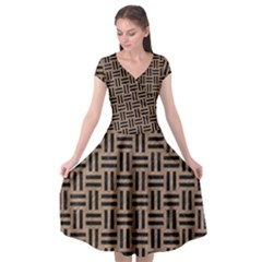 Woven1 Black Marble & Brown Colored Pencil (r) Cap Sleeve Wrap Front Dress