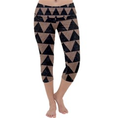 Triangle2 Black Marble & Brown Colored Pencil Capri Yoga Leggings