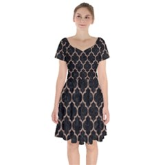 Tile1 Black Marble & Brown Colored Pencil Short Sleeve Bardot Dress