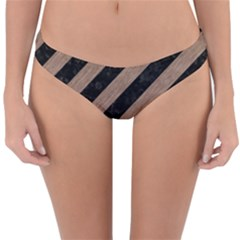 Stripes3 Black Marble & Brown Colored Pencil Reversible Hipster Bikini Bottoms