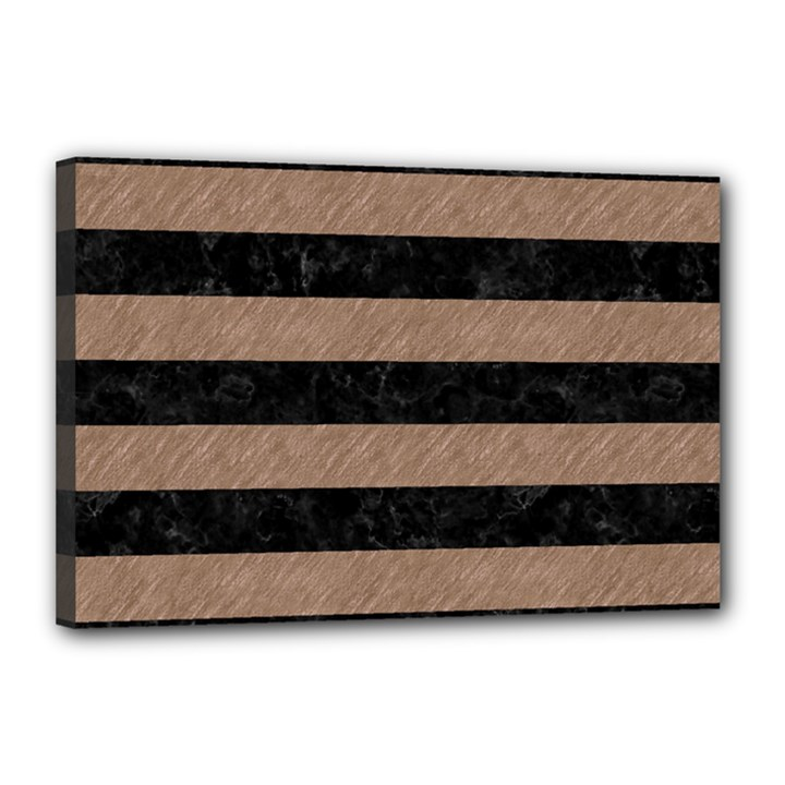 STRIPES2 BLACK MARBLE & BROWN COLORED PENCIL Canvas 18  x 12  (Stretched)