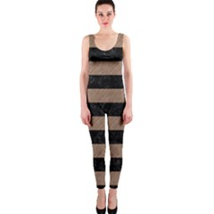 Stripes2 Black Marble & Brown Colored Pencil Onepiece Catsuit