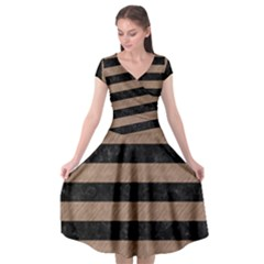 Stripes2 Black Marble & Brown Colored Pencil Cap Sleeve Wrap Front Dress