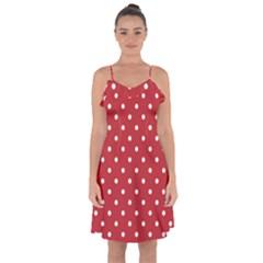 Red Polka Dots Ruffle Detail Chiffon Dress