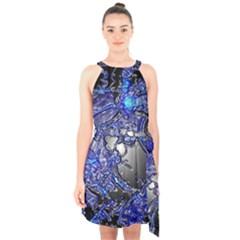 Blue Silver Swirls Halter Collar Waist Tie Chiffon Dress