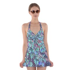 Colored Pencil Tree Leaves Drawing Halter Swimsuit Dress