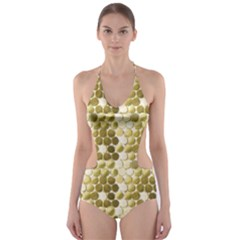 Cleopatras Gold Cut Out One Piece Swimsuit