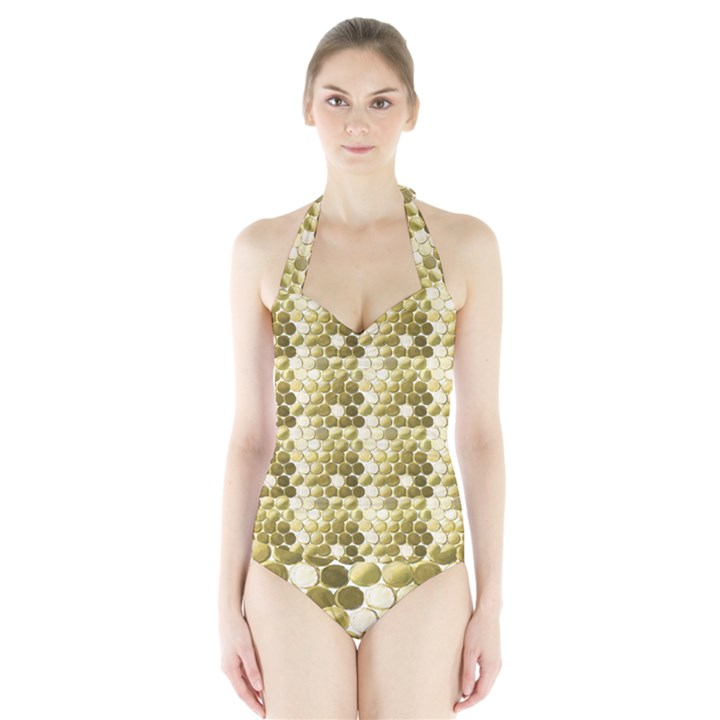 Cleopatras Gold Halter Swimsuit