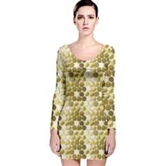 Cleopatras Gold Long Sleeve Velvet Bodycon Dress
